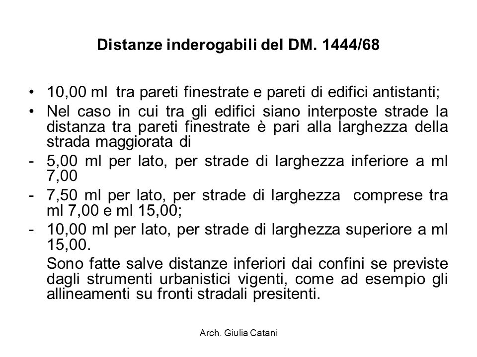 Distanze inderogabili del DM. 1444/68