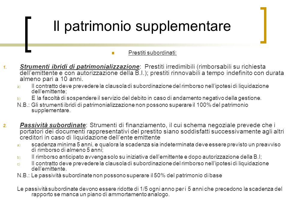 Il patrimonio supplementare