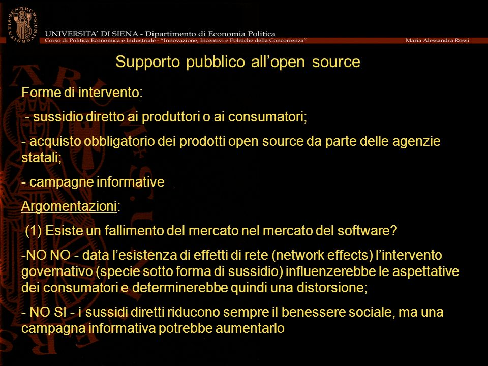 Supporto pubblico all'open source