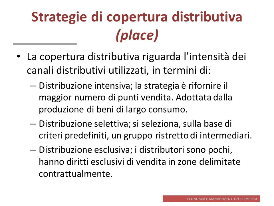 Strategie di copertura distributiva (place)