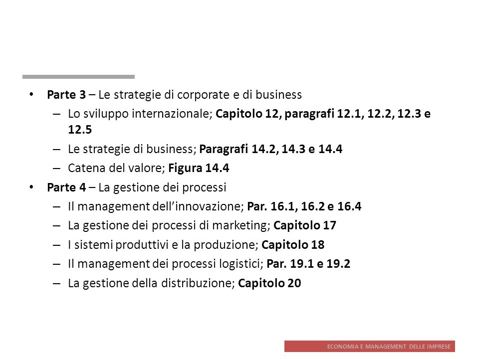Parte 3 – Le strategie di corporate e di business