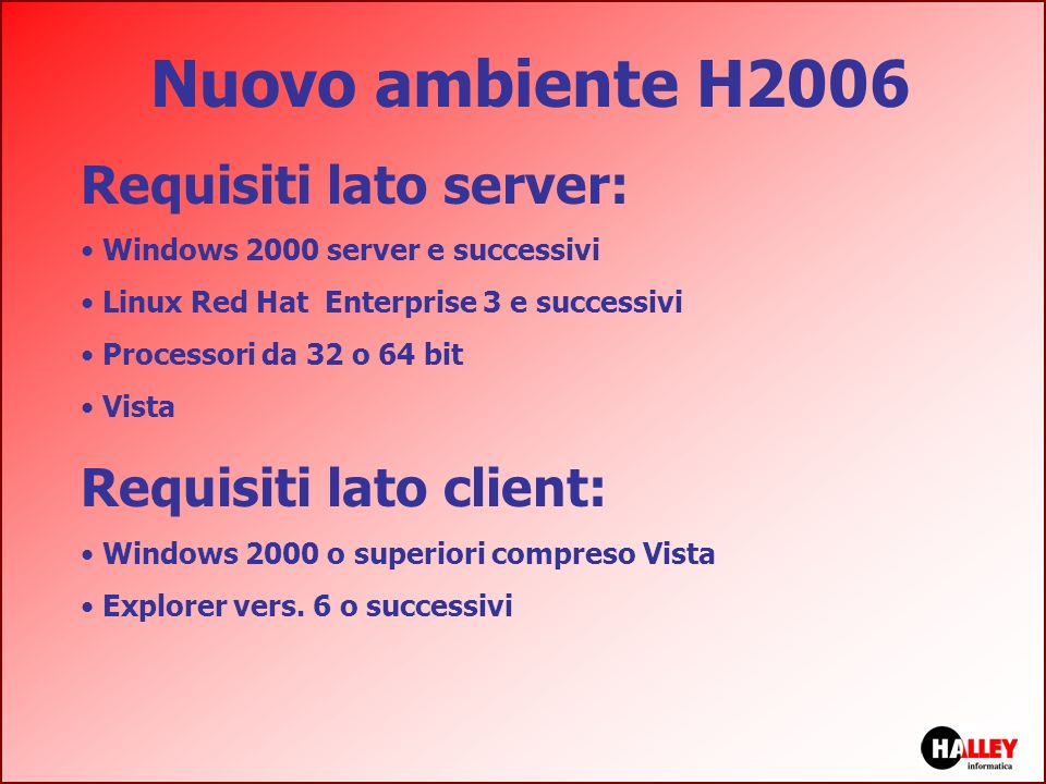 Nuovo ambiente H2006 Requisiti lato server: Requisiti lato client: