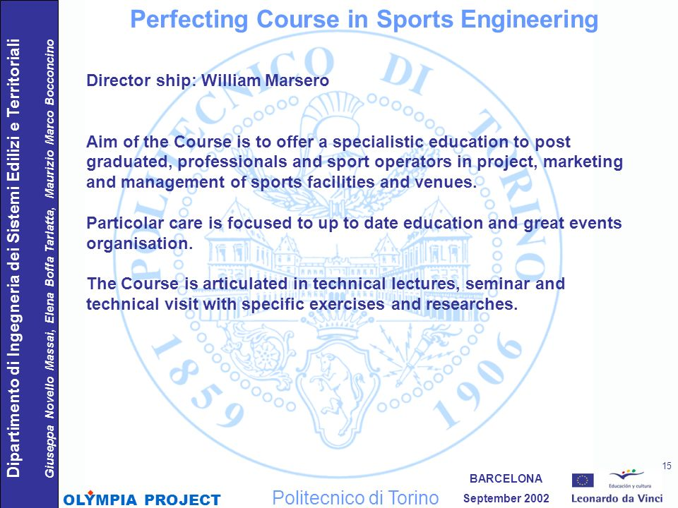 Perfecting Course in Sports Engineering