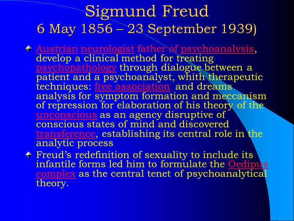 Sigmund Freud 6 May 1856 – 23 September 1939)