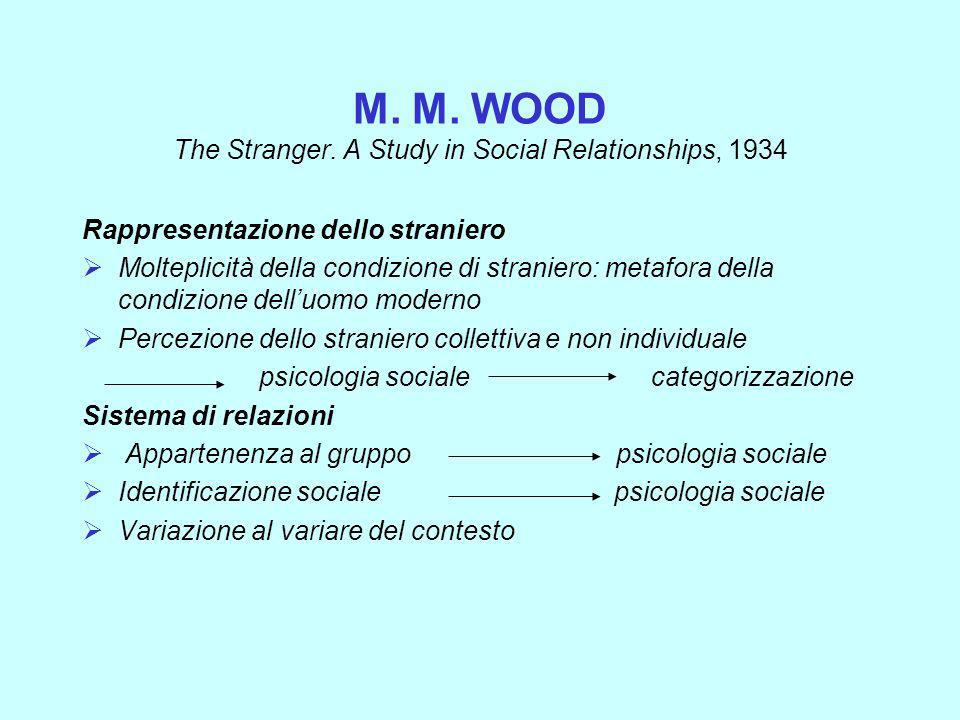 M. M. WOOD The Stranger. A Study in Social Relationships, 1934