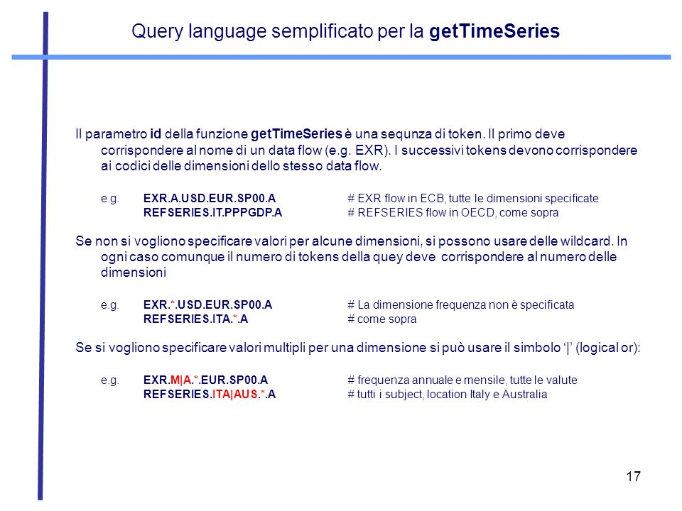 Query language semplificato per la getTimeSeries