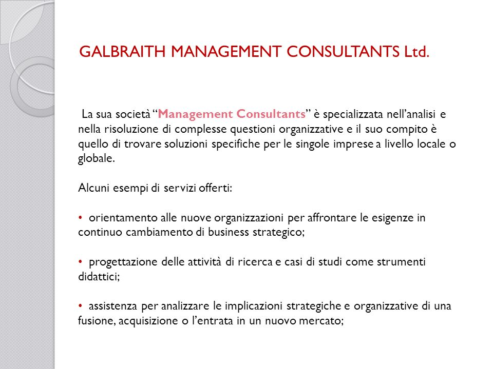 GALBRAITH MANAGEMENT CONSULTANTS Ltd.