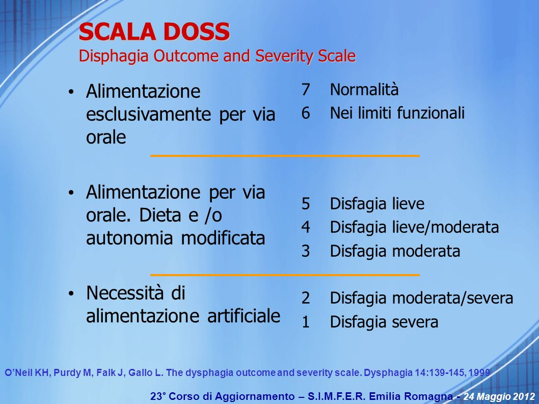 SCALA DOSS Disphagia Outcome and Severity Scale