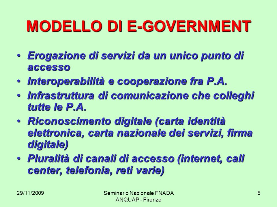 MODELLO DI E-GOVERNMENT