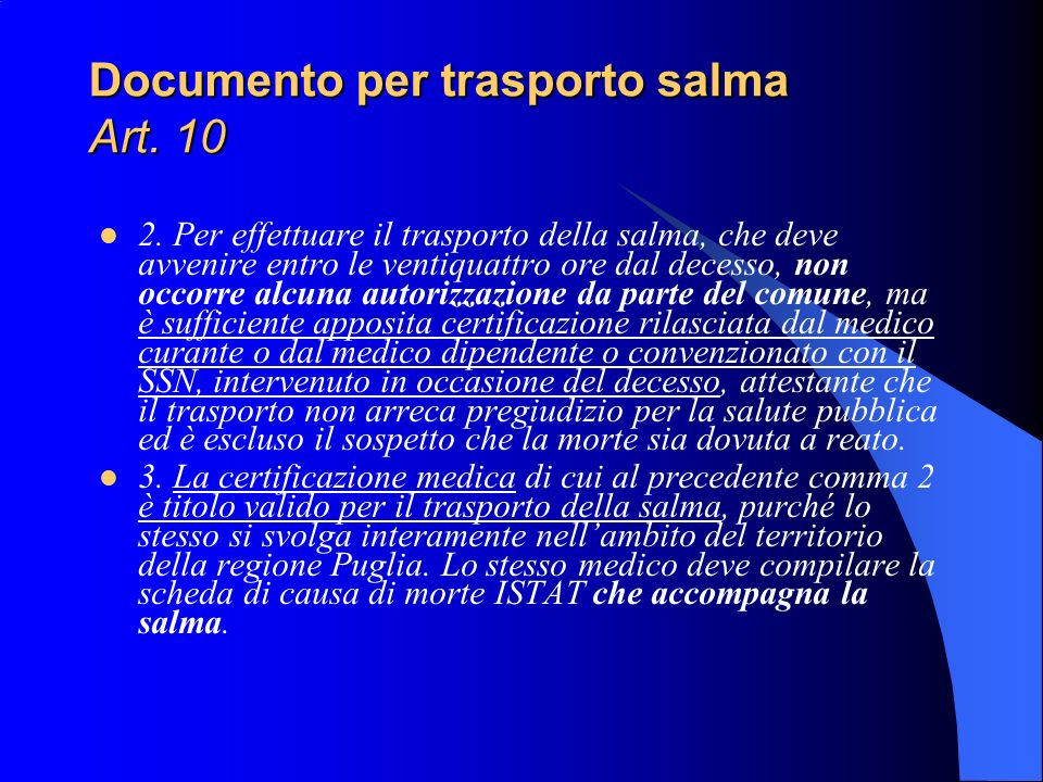 Documento per trasporto salma Art. 10