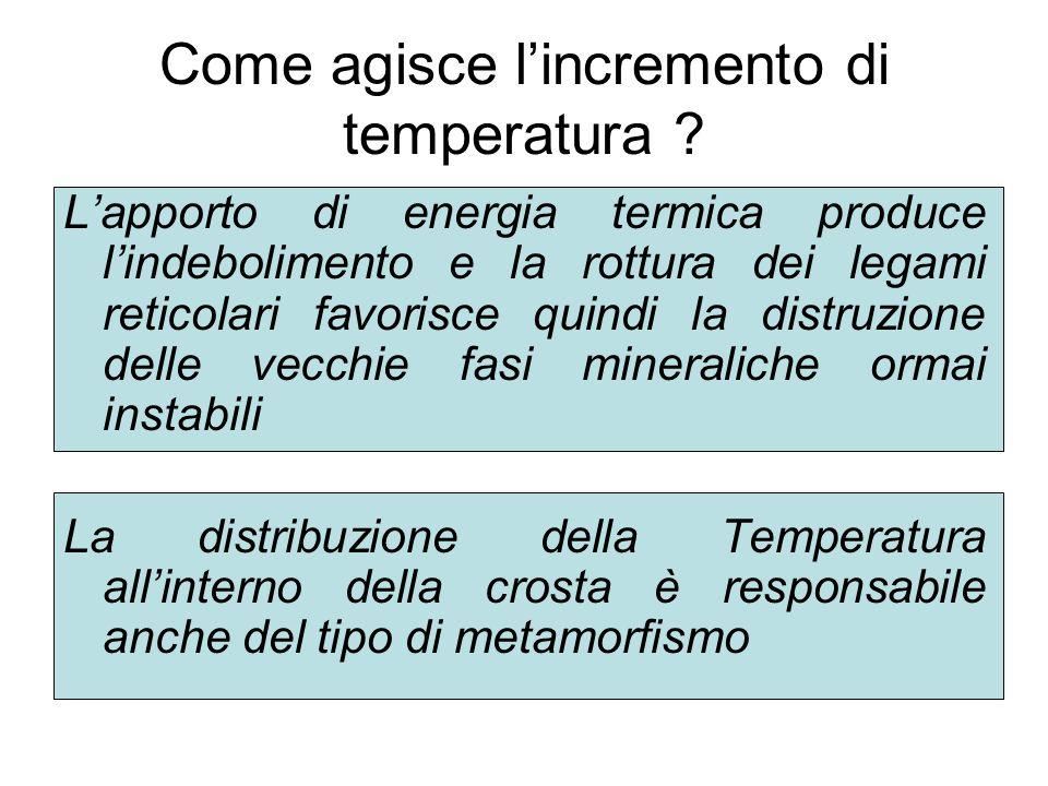 Come agisce l'incremento di temperatura