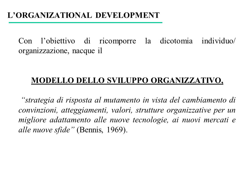 L'ORGANIZATIONAL DEVELOPMENT