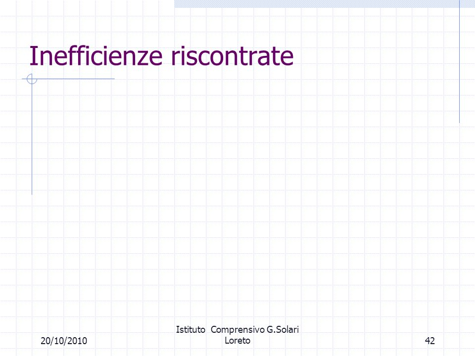 Inefficienze riscontrate