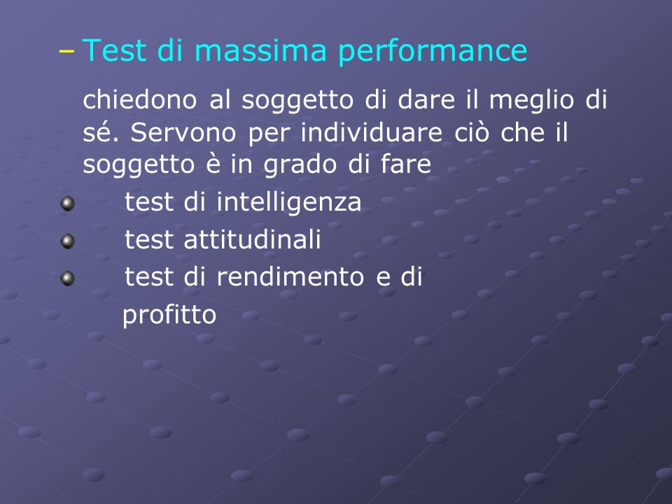 Test di massima performance