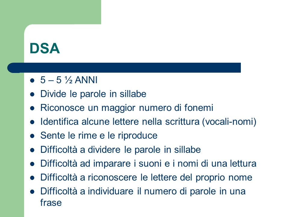 DSA 5 – 5 ½ ANNI Divide le parole in sillabe