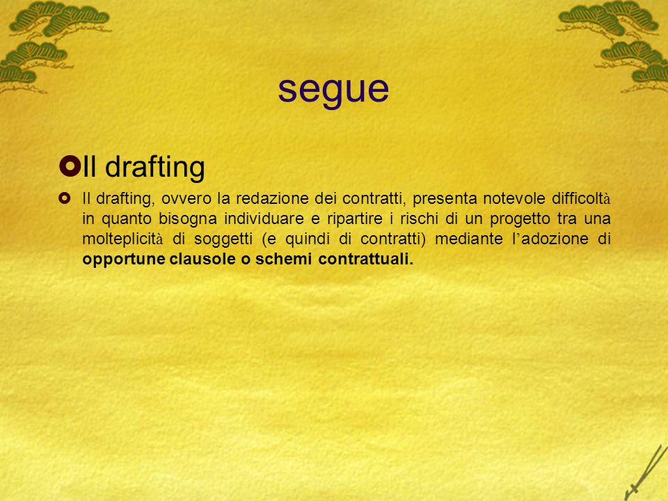 segue Il drafting.
