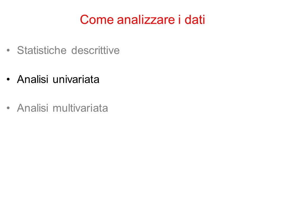 Come analizzare i dati Statistiche descrittive Analisi univariata
