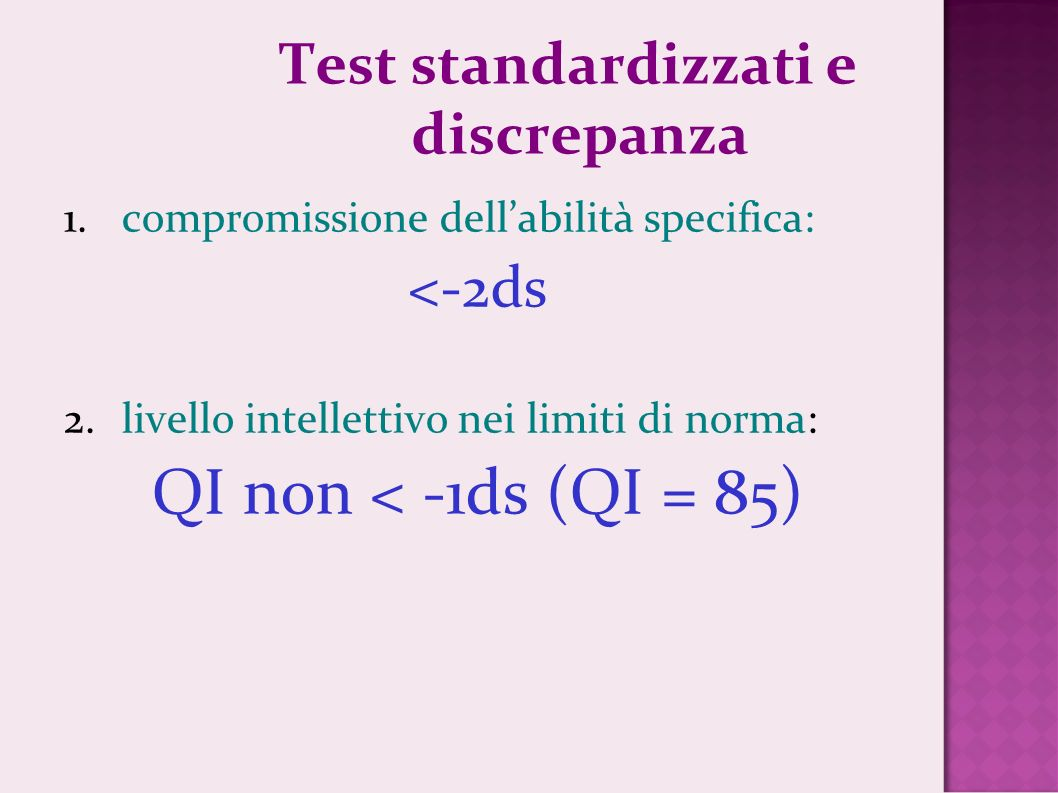 Test standardizzati e discrepanza
