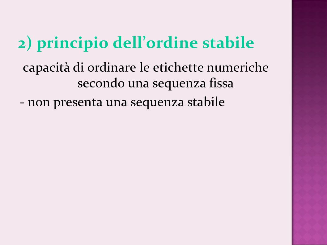 2) principio dell'ordine stabile