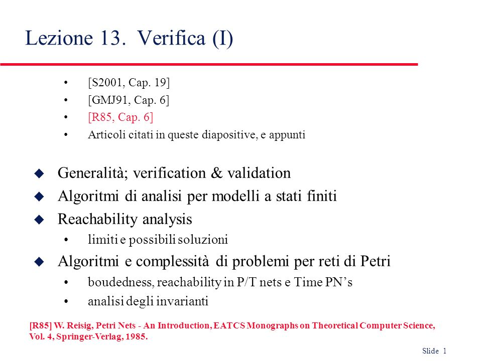 Lezione 13. Verifica (I) Generalità; verification & validation