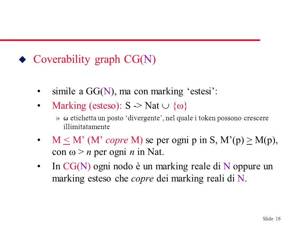 Coverability graph CG(N)