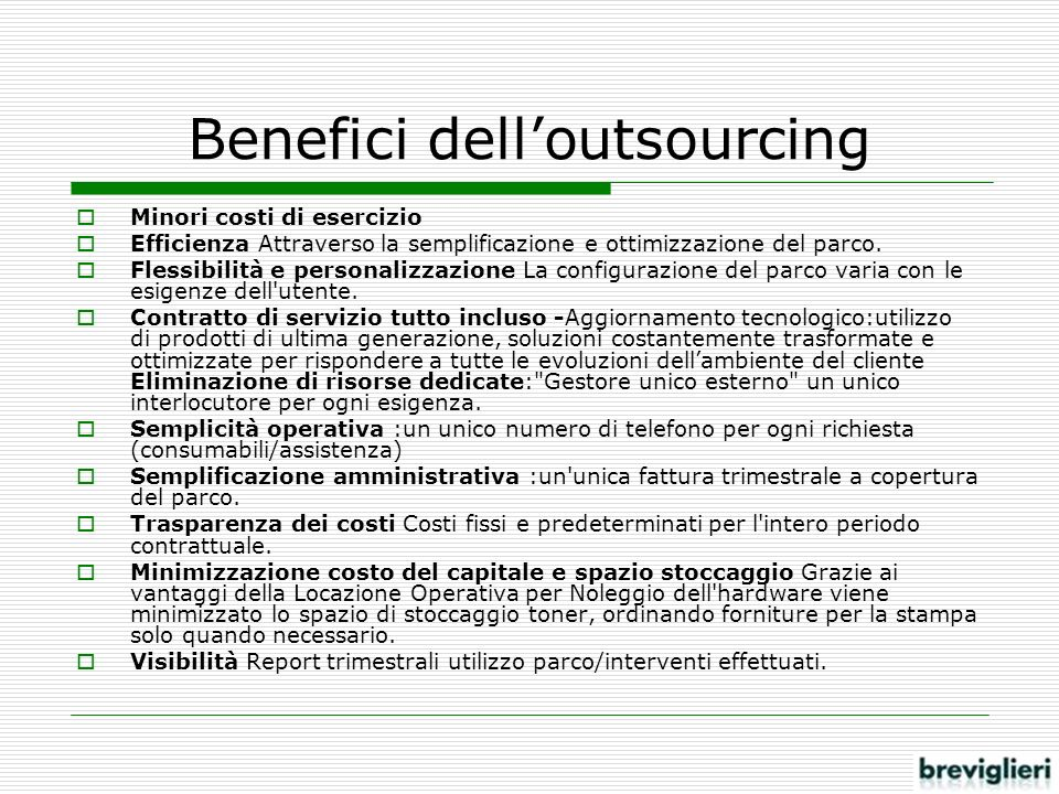 Benefici dell'outsourcing