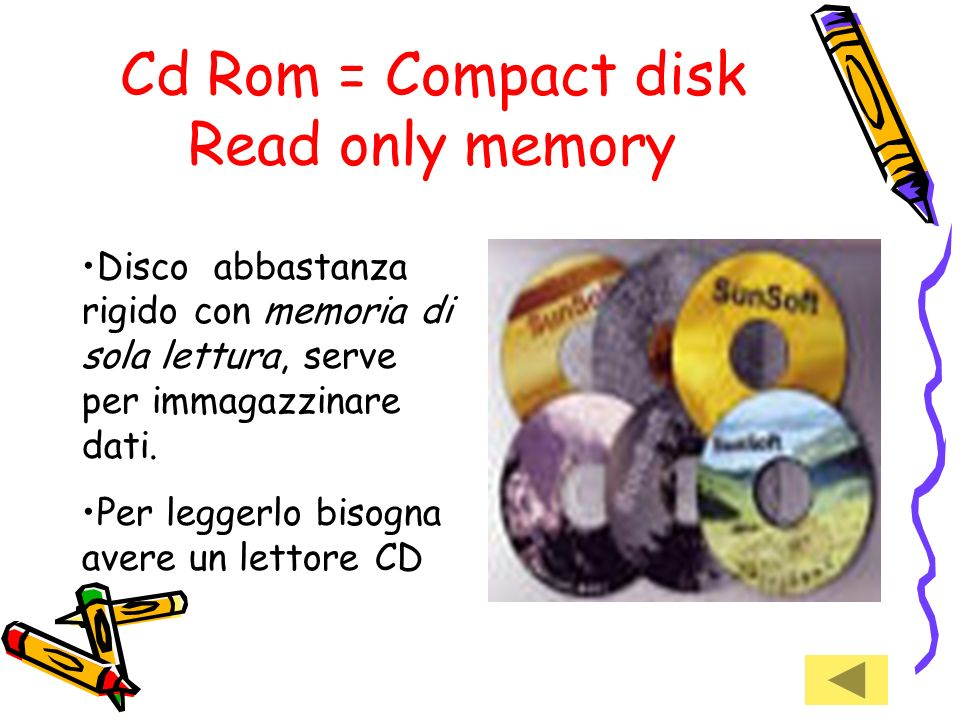 Cd Rom = Compact disk Read only memory