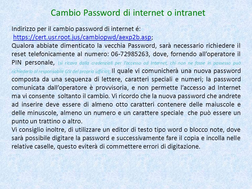 Cambio Password di internet o intranet
