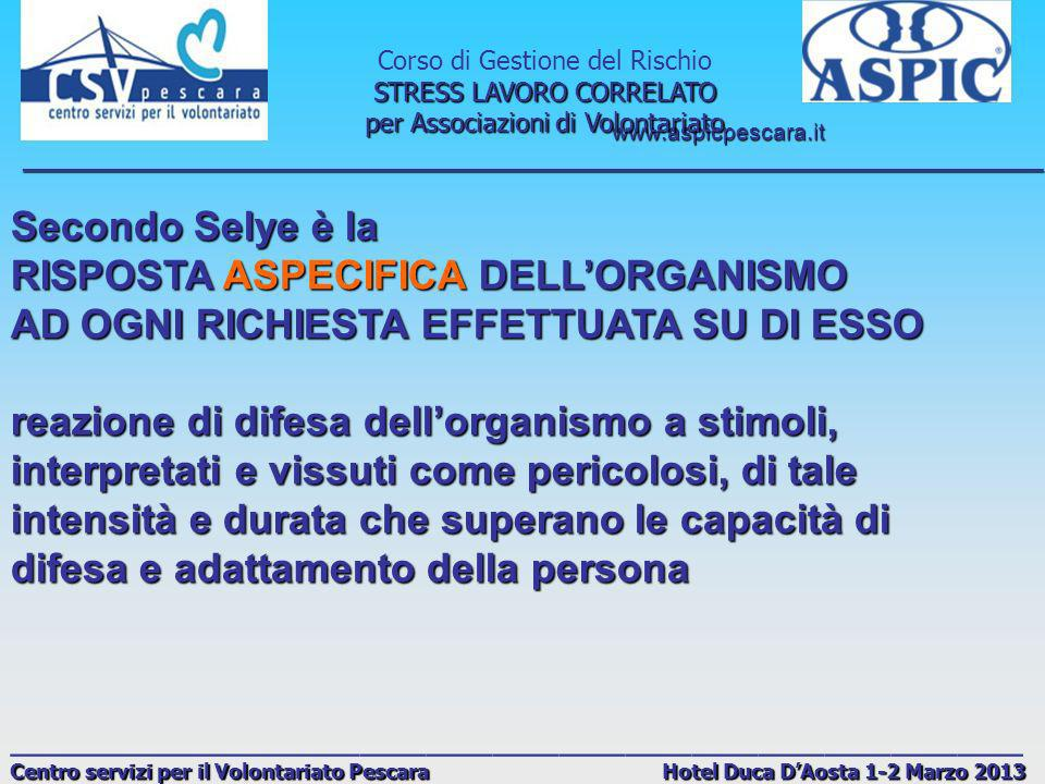RISPOSTA ASPECIFICA DELL'ORGANISMO
