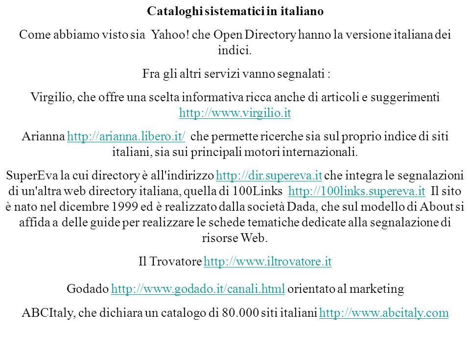 Cataloghi sistematici in italiano