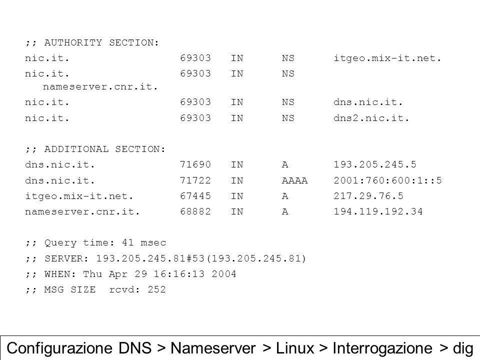 ;; AUTHORITY SECTION: nic.it IN NS itgeo.mix-it.net.
