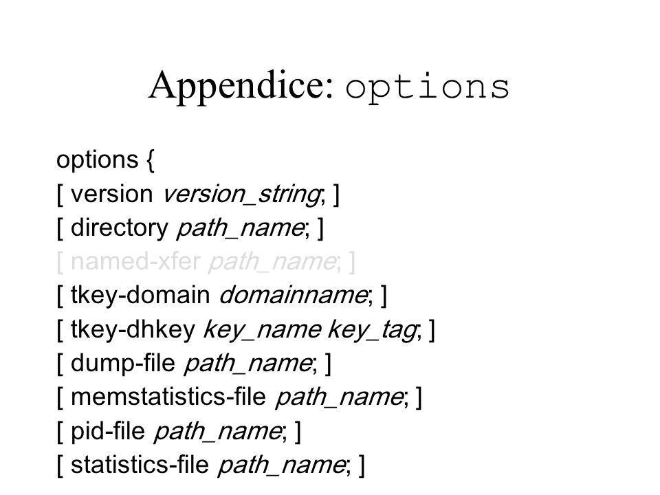 Appendice: options options { [ version version_string; ]