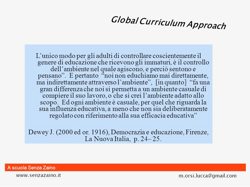 Global Curriculum Approach
