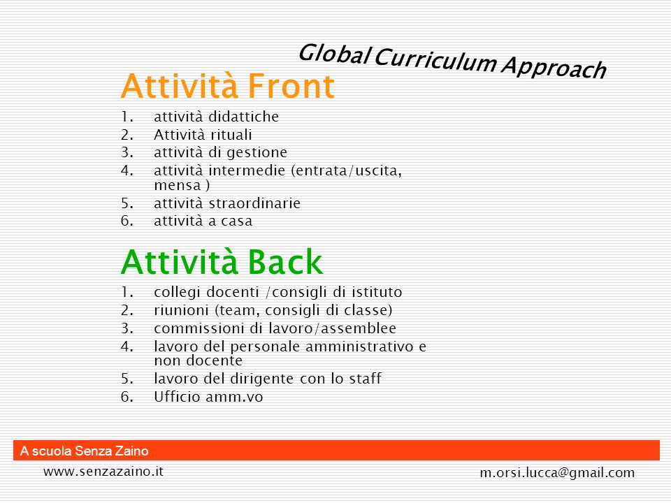 Attività Front Attività Back Global Curriculum Approach