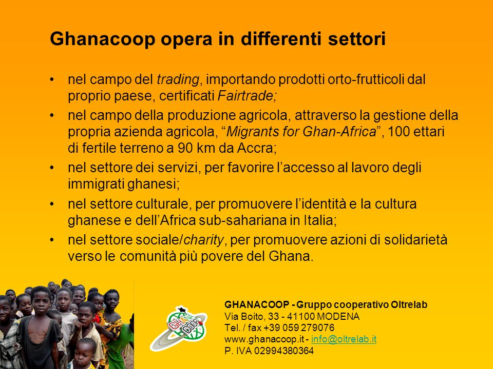 Ghanacoop opera in differenti settori