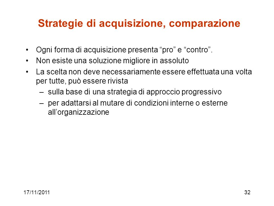 Strategie di acquisizione, comparazione
