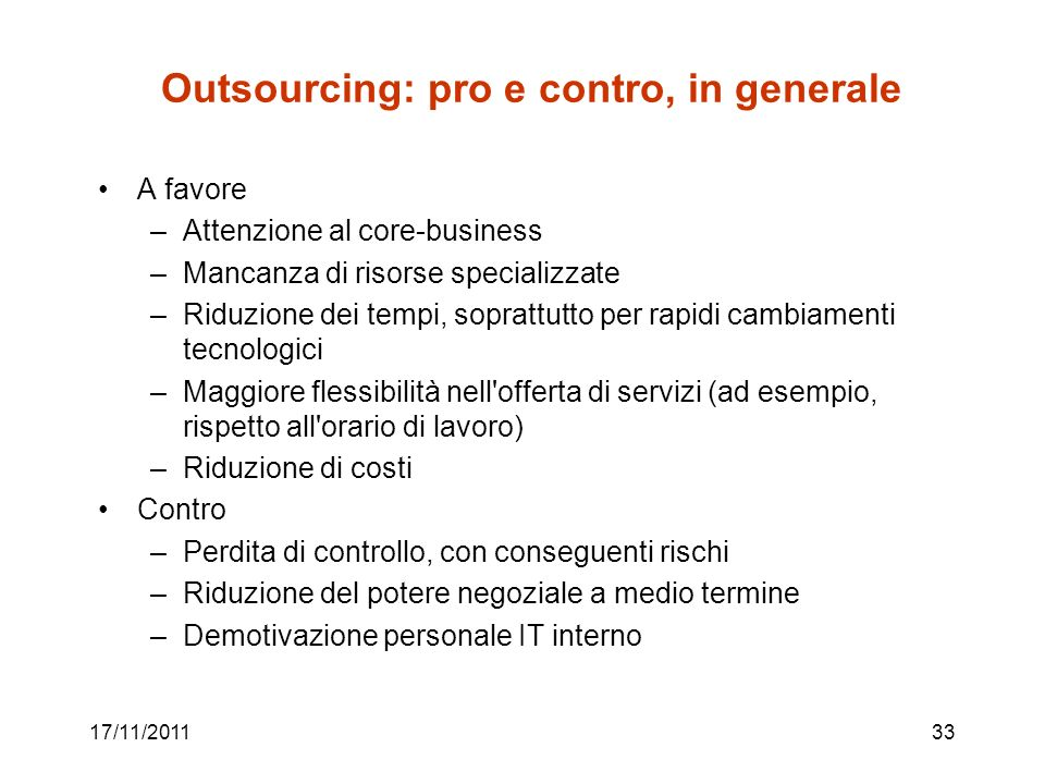 Outsourcing: pro e contro, in generale