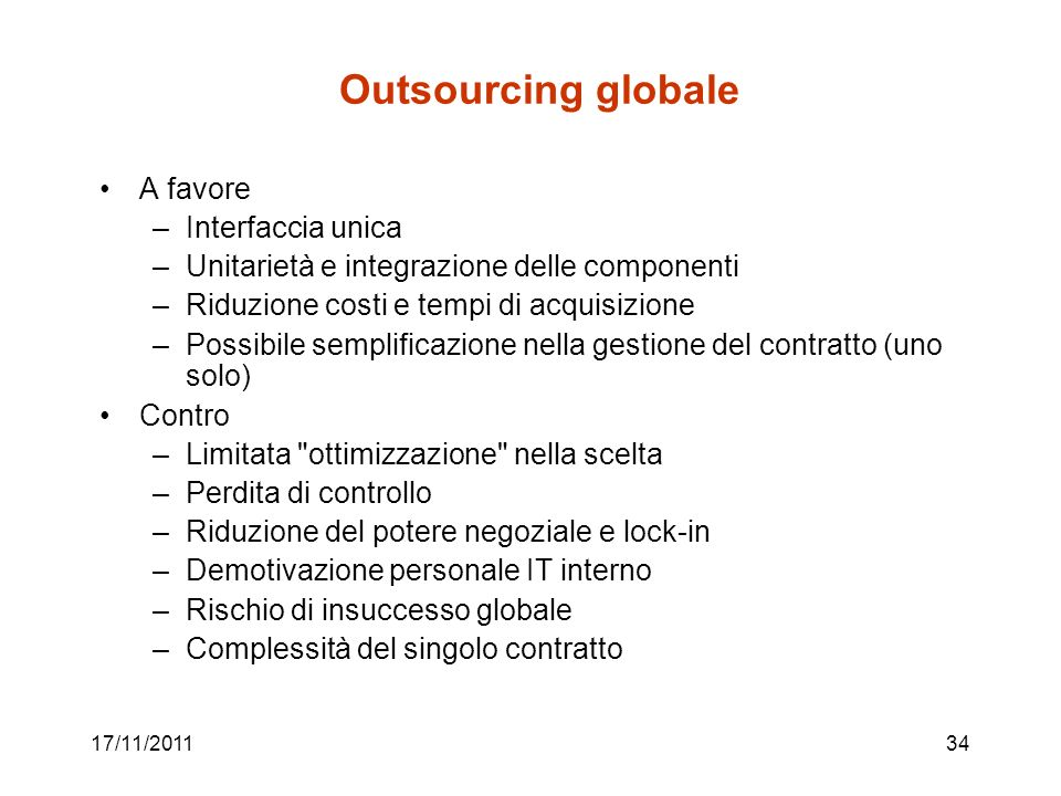 Outsourcing globale A favore Interfaccia unica