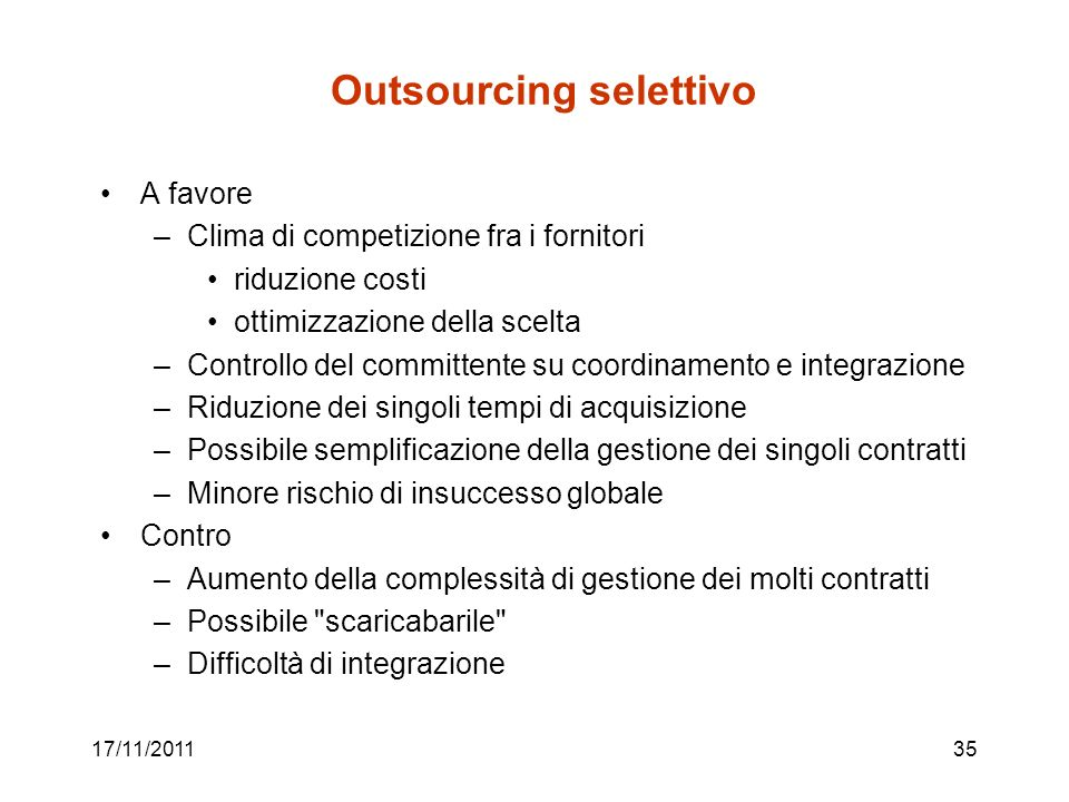 Outsourcing selettivo