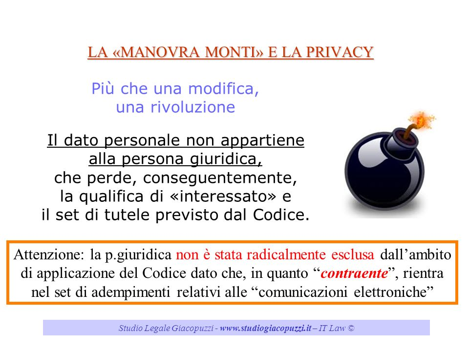 LA «MANOVRA MONTI» E LA PRIVACY