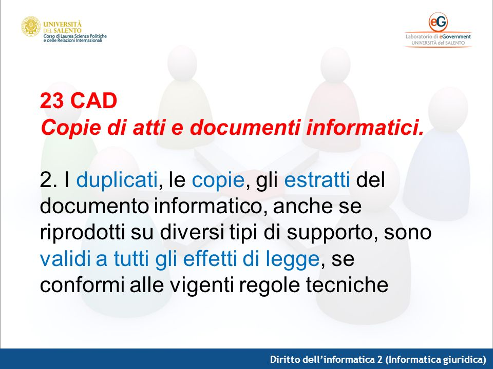 Copie di atti e documenti informatici.