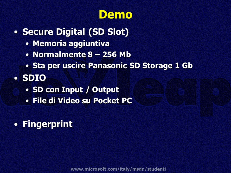 Demo Secure Digital (SD Slot) SDIO Fingerprint Memoria aggiuntiva