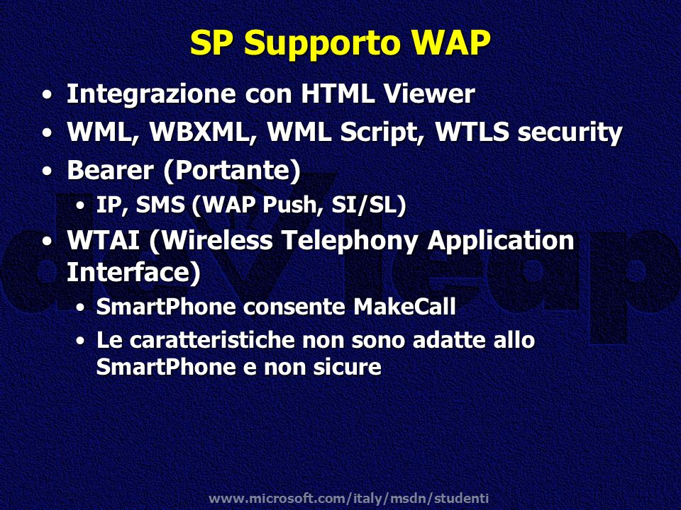 SP Supporto WAP Integrazione con HTML Viewer