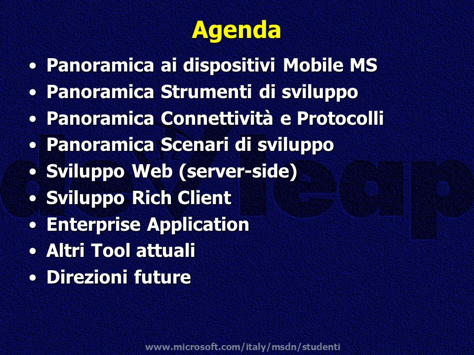 Agenda Panoramica ai dispositivi Mobile MS