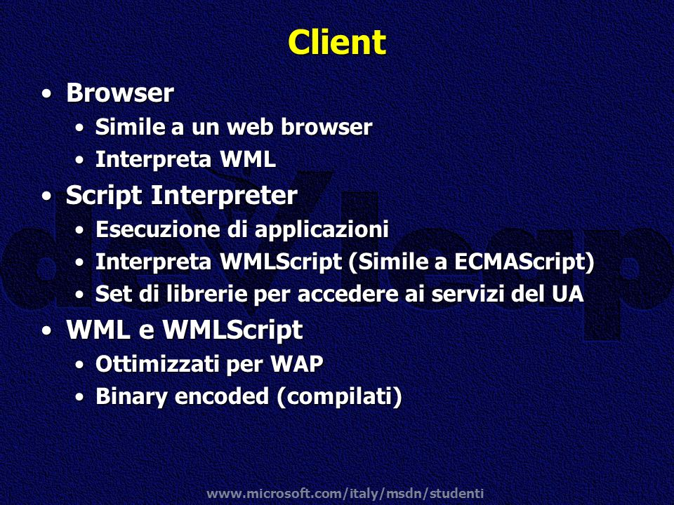 Client Browser Script Interpreter WML e WMLScript