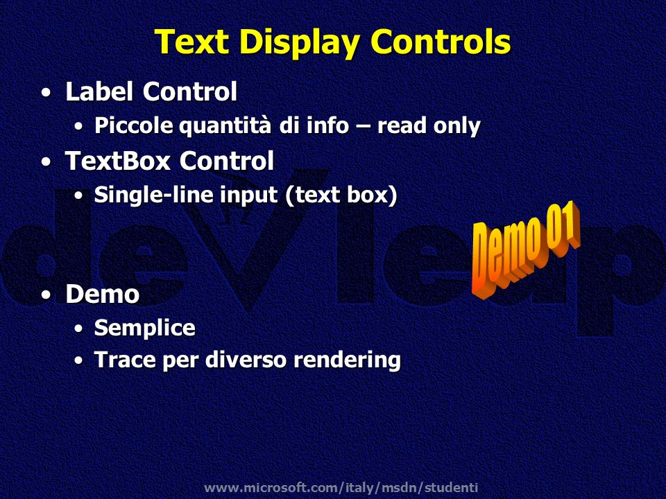 Text Display Controls Demo 01 Label Control TextBox Control Demo