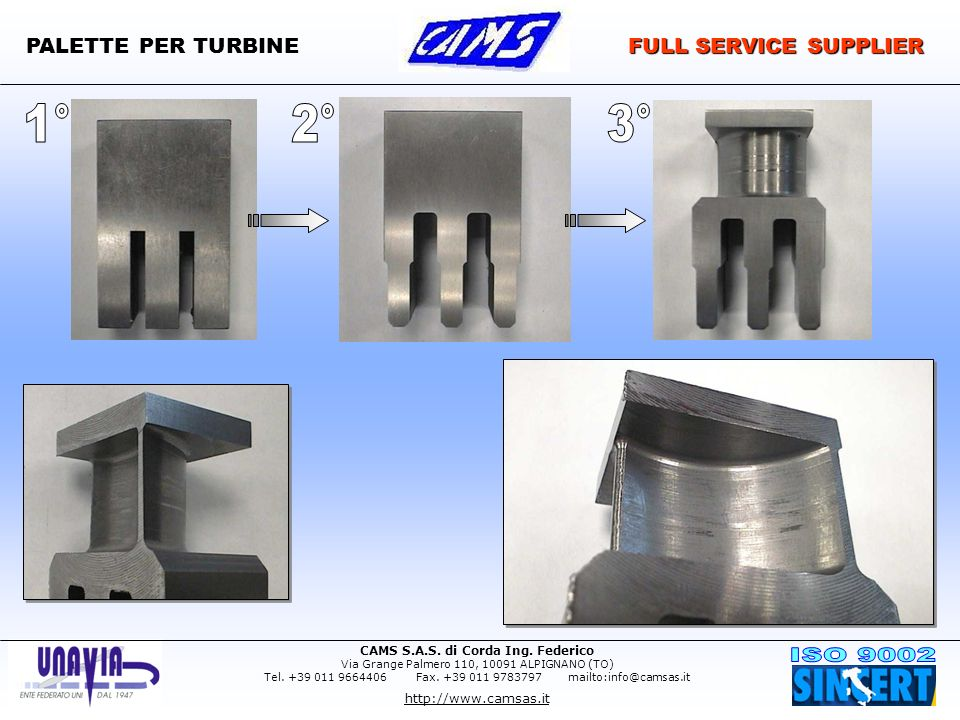 PALETTE PER TURBINE FULL SERVICE SUPPLIER 1° 2° 3°