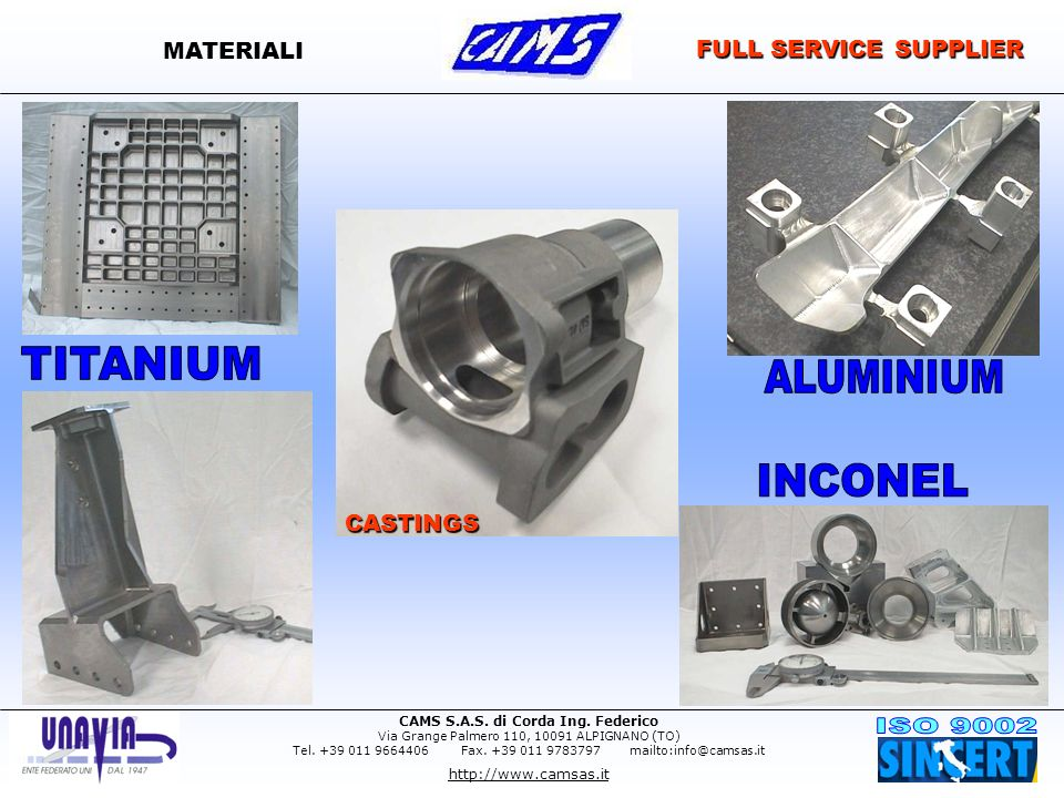 MATERIALI FULL SERVICE SUPPLIER CASTINGS TITANIUM ALUMINIUM INCONEL