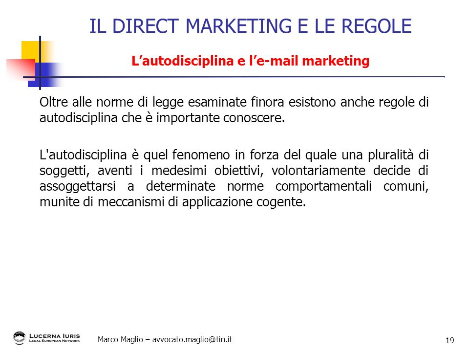 IL DIRECT MARKETING E LE REGOLE L'autodisciplina e l' marketing