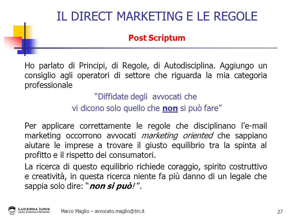 IL DIRECT MARKETING E LE REGOLE Post Scriptum